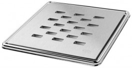 Slotted' Highly Polished Square Grating and Frame 150mm x 150mm x 5mm **Chrome on Brass - On The Level Showers Ltd