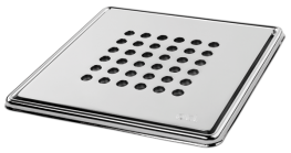 Round' Highly Polished Square Grating and Frame 150mm x 150mm x 5mm **Chrome on Brass - On The Level Showers Ltd