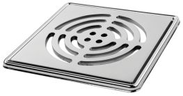 Large Circle'  Highly Polished Square Grating and Frame 150mm x 150mm x 5mm **Chrome on Brass - On The Level Showers Ltd