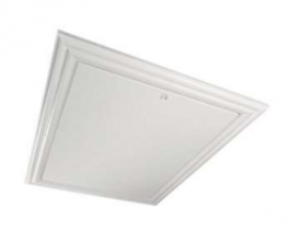 Hinged loft hatch: Decorative frame with flat lid. Frame is fitted with compression seals to prevent draughts between the frame and the lid. When closed the lid is compressed against draught seals. Easy to open and close with simple turn of the catch. Made fro...