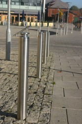 ASF 5008 Stainless Steel Bollard with Solid Machined Top - Architectural Street Furnishings