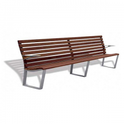 The Leman Bench is part of an alternative urban seating range, which stands out for its comfort and elegance thanks to a quality finish and excellent durability. This Bench is manufactured in line with environmental and social criteria. The cast secondary aluminium feet (recycled and recyclable material) and the tropical wood comes from controlled felling (FSC certified).This Leman Bench measures: 2300mm length x 600 width x 830mm high. Seat height measures 420mm and armrests height measures 625mm.Ductile iron legs treated with Ferrus, a protective process for iron that guarantees high corrosion resistance. Epoxy primer coating and grey polyester powder coated finish. AG3 cast aluminium legs can be supplied upon request. Tropical wood boards measuring 55 x 30mm, treated with Lignus, a fungicide, insecticide and waterproofing agent. Mahogany colour finish. Stainless steel bolts. Recommended anchoring: M10 bolts to anchor to the ground, depending on the surface and the project.