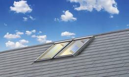 Keylite Ridge (RG) roof windows may be installed along the roof ridge to maximise light and space at the highest point of the pitched ceiling and create a striking feature. 