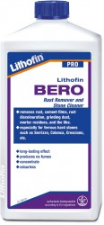 Lithofin BERO removes rust and rust discolouration and is also suitable for removing cement residues from iron containing natural stones. Suitable for acid resistant hard stones.
