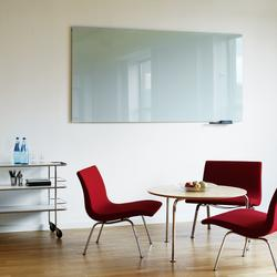 Vision is a modern board for the office, the metting room as well as a message board for public areas. Glass board of 6 mm tempered clear float glass with frosted edges with back in rolled porcelain that is burnt into the glass during tempering process. The gl...