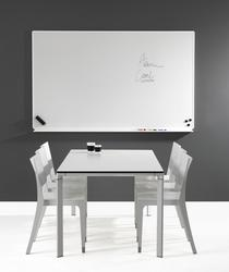 Magnetic E3 enamel surface (NCS S 1002 G50Y) of highest quality with silver or white anodized aluminium frame and rounded plastic corners. The back is covered with a 0,3 mm thick aluminium sheet. The whiteboard has a hidden suspension. Delivered with penshelf ...
