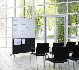The popular Alumi Combi screen is developed to make meetings flexible. It's both a screen, sound absorbent and mobile writing board all within one product. One side is covered with a writing board (optic whiteglass or E3 whiteboard) and felt surface. The o...
