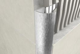 Round Edge Open Profile   Brushed Chrome Aluminium image