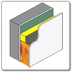 This kit enables on-site assembly of fully fire tested and approved Ventilated Fire Barriers to fit all common cavity sizes with an air gap left for ventilation and moisture dissipation. Air gaps of 25, 35 and 46mm are supported. A roll of fire barrier material and fixings are supplied with the kit but some cavities may require mineral fibre board to narrow the cavity gap so that the activated fire seal fully closes the ventilation air gap. Mineral fibre board is sold separately. See the Installation Guide or contact Astroflame for more details on installation options, including the use of mineral fibre boards.    VFB Kit can be mounted directly on Timber Frame, Masonry, Kingspan* and Mineral Fibre insulation (* Limited applications, check with Astroflame for details). Fully tested with cavity deviations of up to 10mm to ensure a reliable fire barrier is maintained Fully tested in most popular constructions to give 30/60 minute fire protection. Ventilated Fire Barrier (VFB) Kit is tested to the general principles of BS EN 1363-1: 1999, using the general principles stated in EOTA TR31: 2008 (Fire resistance test for cavity barriers)      As part of our policy of ongoing improvements, we reserve the right to modify, alter or change product specifications without giving notice. Product illustrations are representations only. All information contained in this document is provided for guidance only, and as ASTROFLAME FIRESEALS LTD has no control over the installation methods of the products, or of the prevailing site conditions, no warranties expressed or implied are intended to be given as to the actual performance of the products mentioned or referred to, and no liability whatsoever will be accepted for any loss, damage or injury arising from the use of the information given of products mentioned or referred to herein. The above information to the best of our knowledge is true and accurate and based upon current test data and is supplied for your guidance only. Customers should satisfy themselves    to the suitability of the product in its intended use and no guarantee is given or implied since the conditions of actual use are beyond our control. ASTROflame (Fireseals) Ltd, disclaim any liability for loss, damage or other expense arising from the use of information, data or products mentioned or referred to and reserve the right to change any details or specifications without notice.