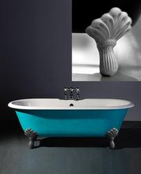 Astonian Rimini 1700x785mm 2-taphole cast iron roll top bath white with Regal cast iron feet image