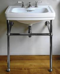 Carlton 650x520mm 3-taphole basin white with deluxe ball jointed basin stand and fixing bolts image