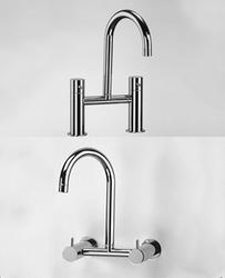 Zyam 2-hole basin/sink mixer 160mm spout for wall or deck mounting chrome image