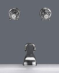"Tradition 3/4"" wall valves (pair) and wall mounted bath spout including 1inch tee image"