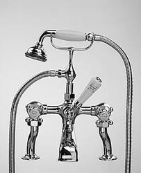 Tradition bath mounted bath/shower mixer and flexible shower kit image