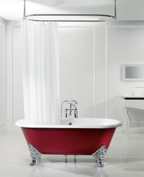 Astonian Luxor 1780x800mm no-taphole cast iron roll top bath white with ornate feet image