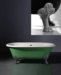 Astonian Verona 1540x785mm no-taphole cast iron roll top bath white with Nouveau cast iron feet image