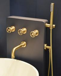 """Acme 1/2"""" concealed wall mounted bath mixer and flexi handshower kit scuffed brass image"""