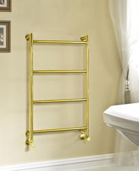 Ambra 750Hx450W hot water wall mounted 4 rail polished brass towel warmer image
