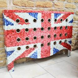 Our Union Jack radiator covers create the ultimate design statement in any interior. Whetrher placed in the hallway, kitchen, living room, corridor or bedroom, these covers are meant to attact attention and they do that by the bucketload. Available in all shapes, sizes, finishes and textures to suit all interiors. We have created Union Jack radiator Covers  in our YOYO and Warehouse ranges, where the designs comes alive. Designs can be mosiac or flat colour - it is up to you. Manufactured in laser cut metal, not only are they wonderful to look at, but they are also timeless, yet still create amazing talking points in any room. All our radiator covers have amazing heat transfer performance.  For the first time you can make a radiator cover that is a joy to look at, timeless in design, with truly innovative styling. Choose whether you require a perforated top, mirrored top or a cast aluminium personalised top.  It is easy to see why when you can create dramatic high quality radiator covers with so many options.