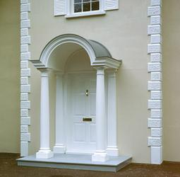 Produced in a standard overall width of 1784 mm, overall projection 1145 mm to accommodate entrances from 914 mm to 1150 mm wide, the Farnham is supplied complete with arched pediment with detachable lead grey roof, two fluted Doric columns and two matching wa...