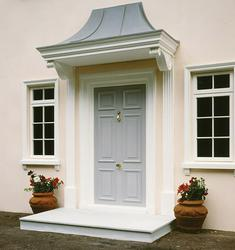Marlow is supplied with 185mm canopy fascia with ceiling and detachable lead grey roof with lead roll features, fluted pilasters with enriched scroll brackets. Available in standard and non-standard overall widths of 1600mm, 1900mm and 2200mm to accommodate en...