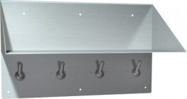 Shelf and back plate are 14 gauge stainless steel type 304 with satin finish. Hooks are 12 gauge stainless steel and back plate is 14 gauge stainless steel. Seams are welded and ground smooth. Hooks snap down for safety if excessively loaded. Unit has 6 holes ...