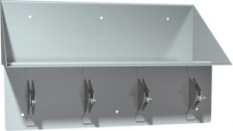 Book shelf and back plate are fabricated of 14 gauge stainless steel type 304 with satin finish. Hooks are 7 gauge and brackets are 11 gauge stainless steel. Hooks snap down for safety if excessively loaded. Unit has 6 holes through back for front mounting....