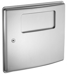 "Heavy-duty 9/64"" staked piano hinge adds to the robust construction. Drawn one piece seamless door of 22 gauge type 304 stainless steel with a satin finish. 1 gal. (3.7 L) waste capacity...."