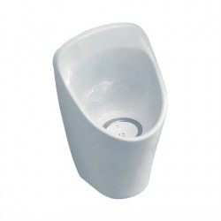 Vitreous china waterless bowl urinal with shrouded outlet and special cartridge. Saves water, can reduce maintenance costs, is easy to install and requires no cistern or flushpipe....