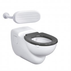 Contour 21 70cm projection hospital pattern wall mounted rimless WC pan with horizontal outlet for ducts. Plastic ring seat, no cover for fully enclosed seat holes on easy clean metal hinges, no raised height seat, no cover, no exposed fixings.See HTM64 (2006...