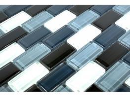 Crystal Glass Black/white Mix Glossy Brick Pattern Mosaic image