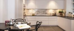 Absolute Black granite Leather and Arabescato marble Kensington image