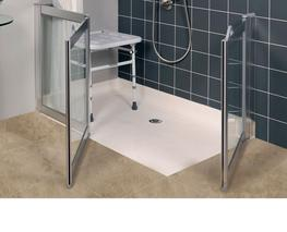Corner Access Shower Doors with Fixed Panel image