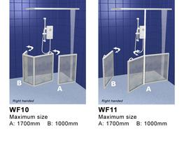 Corner Access Shower Doors with Fixed Panel - Contour Showers Ltd