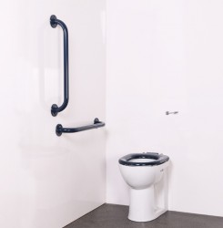 Back to Wall Ambulant Disabled Toilet Pack (Choice of Grab Rail Colours) image
