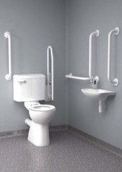 Inta Close Coupled Disabled Toilet Room Pack (Doc M Pack) with Blue or White grab Rails image