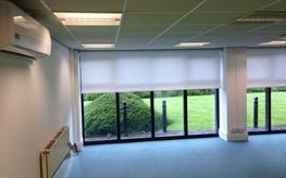 Commercial Blinds UK are established in large scale office blinds projects. We have completed many office blinds installations for businesses across the UK with a great portfolio of successful projects for offices, meeting rooms and receptions.  Blinds for Offices:  Our anti glare window blinds for offices include fabrics that are perfect for solar control and reducing glare on computer screens. Office blinds fabrics range from screen fabrics which reduce solar glare whilst still preserving a view to the outside to conventional fabrics which provide privacy yet allow a certain amount of light transmission to blackout fabrics. Our blackout and automated blind systems are a popular choice for meeting rooms with presentation screens. Office blinds aid heat retention and help keep offices cool during summer and help insulate heat during the winter months. We are experts in providing solutions to large size office blinds and awkward installation scenarios.