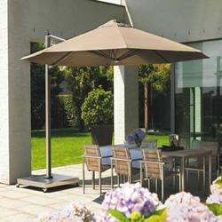 The PROSTOR P7 and P7-XL exists out of one parasol (round Ø 3,50m, square 2,50×2,50 m or 3,00×3,00m).This parasol turns easily 300° without moving the base or ground anchor.   The P7 is available in a manual or electrical version.  The P7 is very easy and ...