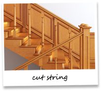 The cut string staircase manufactured in either selected softwoods or hardwood incorporating a unique decorative outer string. It can be manufactured to suit most staircase designs and finished in a choice of colours.  The cut string illustrated, in softwoo...