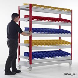 Cost effective solution for line & cell based manufacturing operations, where sloping shelves present containers for easy access & at the right height for operatives Supplied ready for quick & easy boltless self assembly on the static units. The mobile units r...