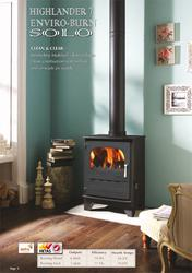Enviro-burn clean combustion with tertiary and airwash air supply means a clear view of the flames. HETAS approved The Highlander 7 Enviro-burn Solo is a free standing woodburning multifuel stove approved to burn wood logs and smokeless fuel in smoke control a...