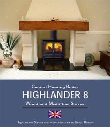 The Highlander 8 Woodburning Multifuel stove is fitted with a fully integral boiler for central heating, capable of running up to five average sized radiators, plus domestic hot water as well as providing heat into the room. The boiler output is controlled by ...
