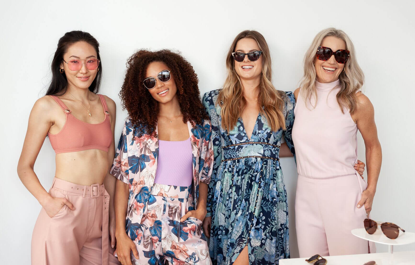 Women in floral dresses wearing sunglasses