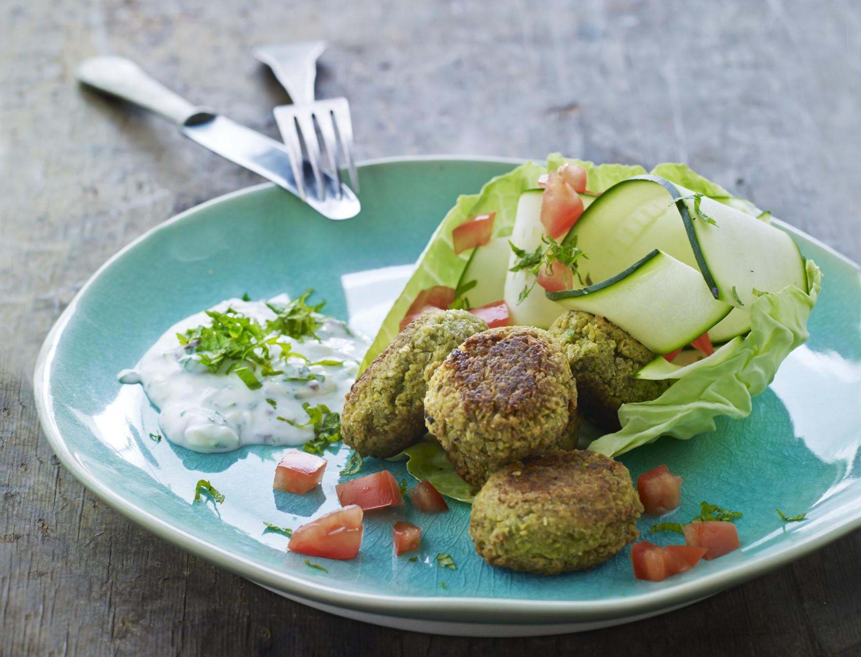 Grønne falafler med raita