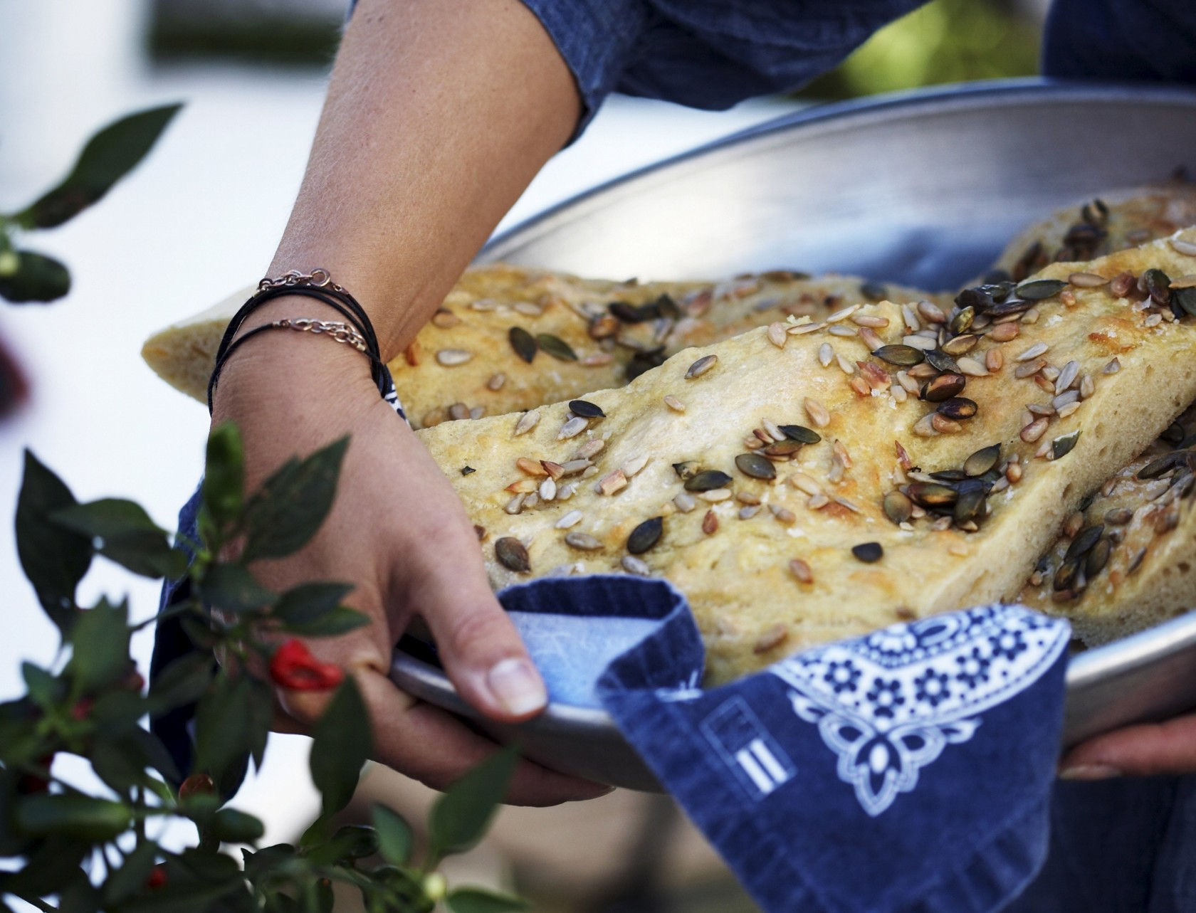 Brød med græskarkerner og solsikkekerner