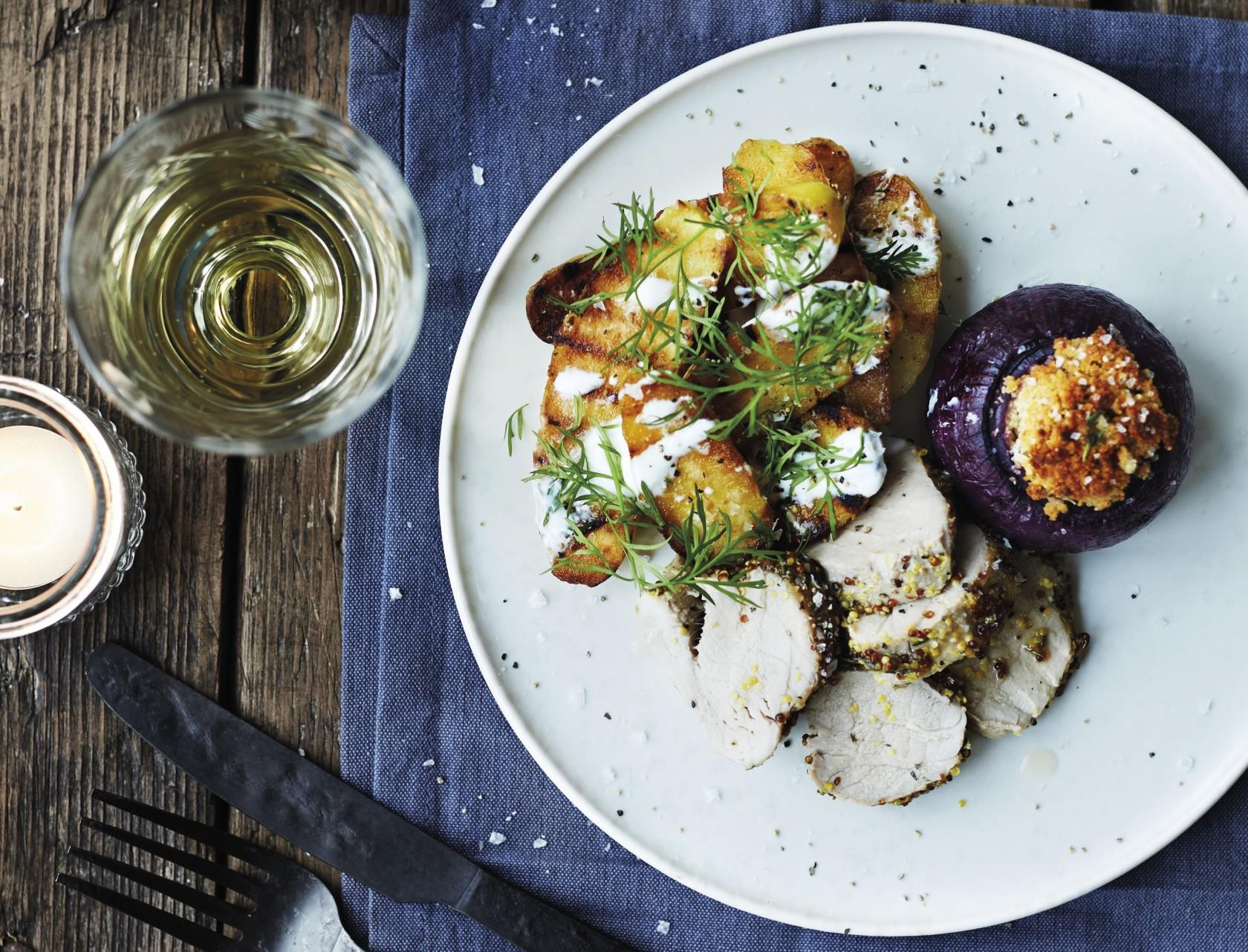 Svinemørbrad med grillede kartofler