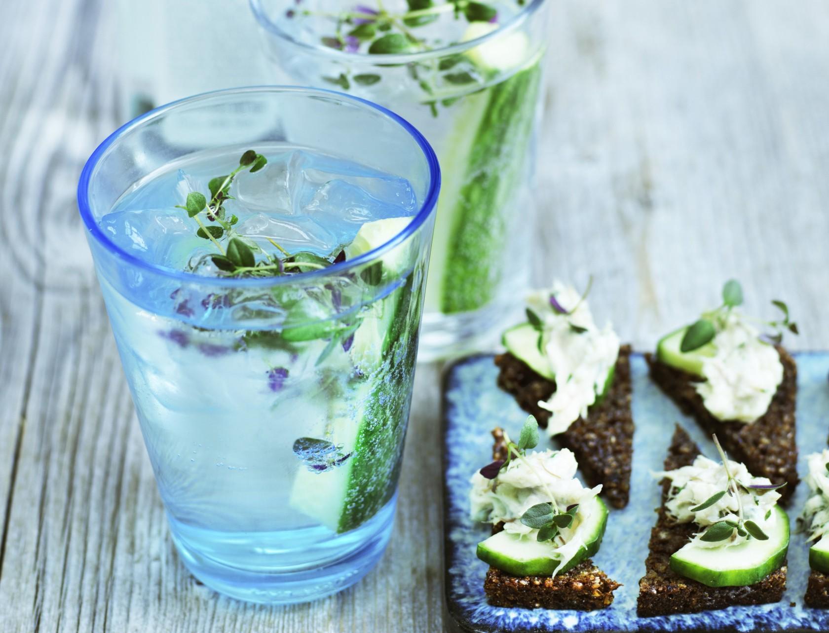 Læskende gin & tonic serveret med lækre snacks af rugbrødschips og røget makrel.