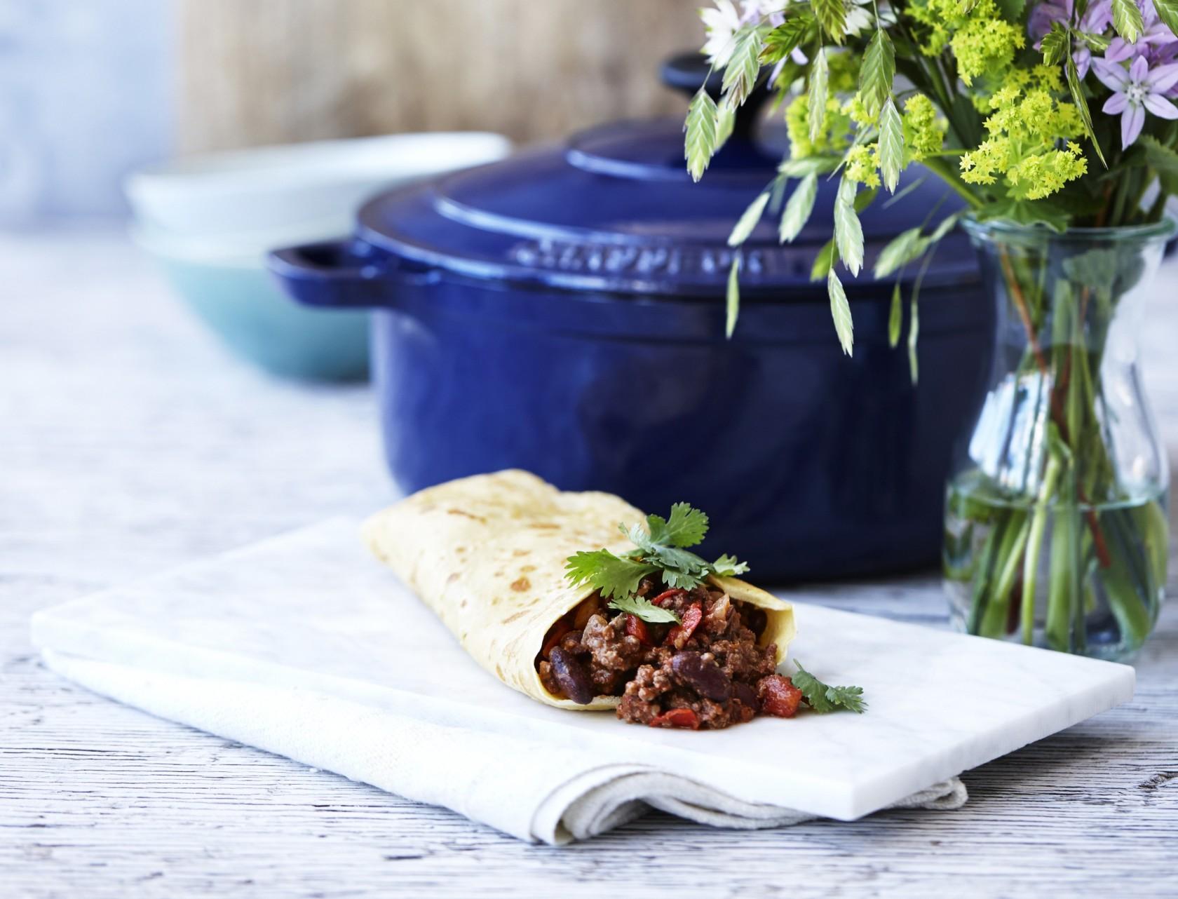 Chili con carne med hjemmelavede majstortillas