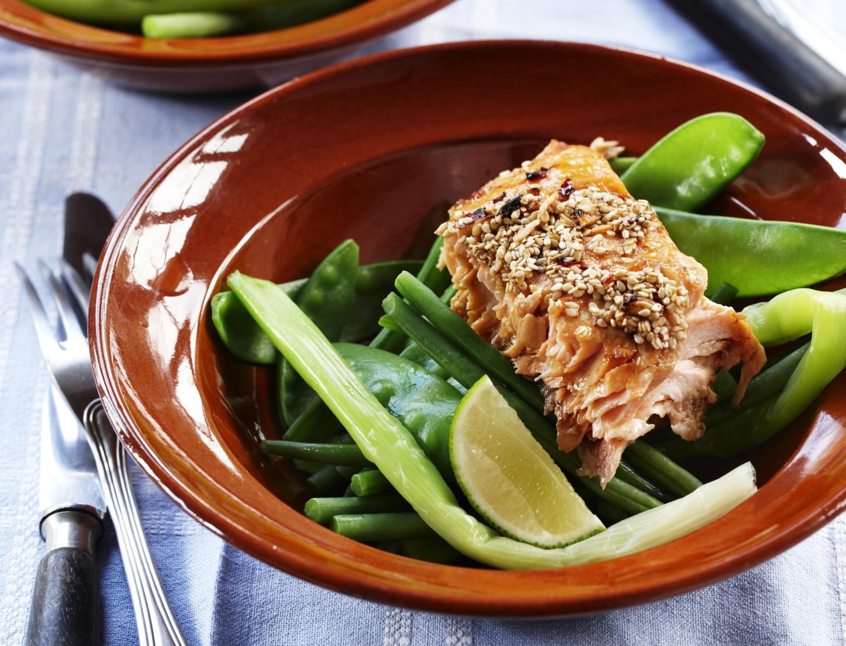 Teriyakilaks med sesam og dampede grøntsager - god opskrift på nem hverdagsmad.