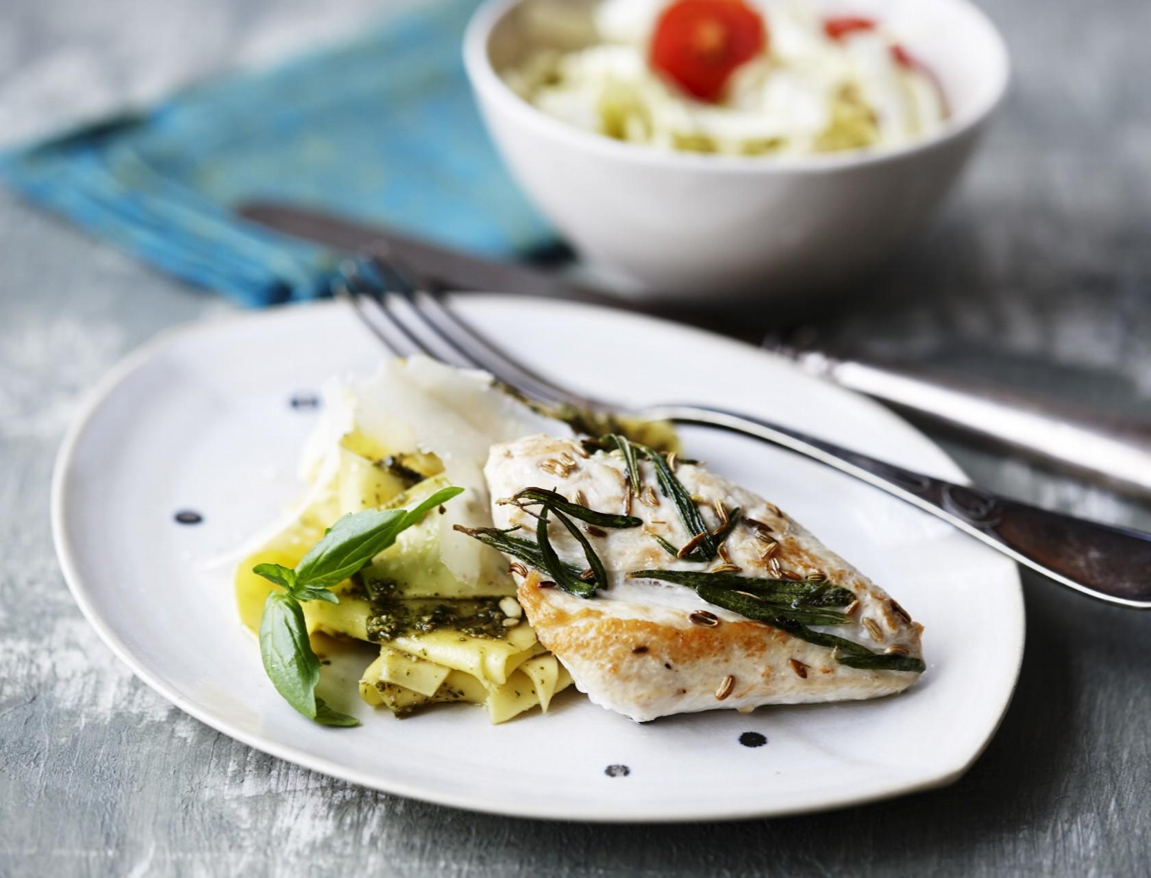 Kylling med rosmarin og pasta med fennikel - det er lige sagen!